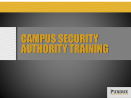 Campus security authority (CSA) training