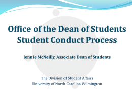Student Conduct Process Presentation