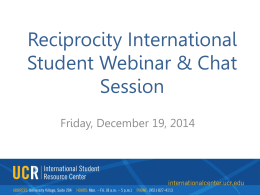 International Student Webinar & Chat Session I