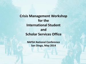 Crisis Management Workshop for the International Student and