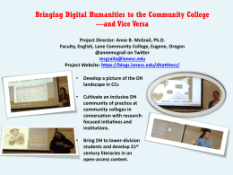 Bringing Digital Humanities to the Community College and Vice Versa