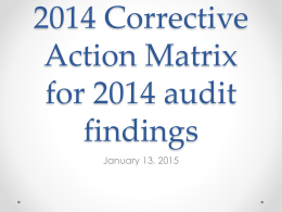 2014 Corrective Action Matrix for 2014 audit
