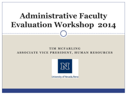 Administration Faculty Evaluation Workshop