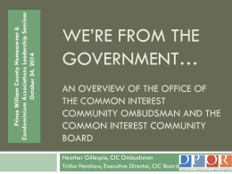 We`re From the Government... An Overview of the Office of The