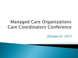 Managed Care Organizations Updates for AAAs