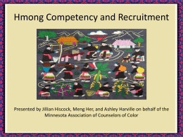 Hmong Competency and Recruitment - Iowa Association for College