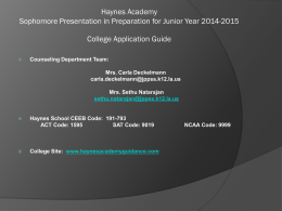 Haynes Academy for Advanced Studies