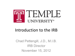 Introduction to the IRB