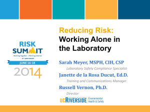 Reducing Risk Working Alone in Labs PPT