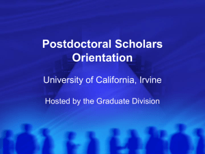 Post-doc Orientation - UCI Postdoctoral Assocation