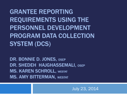 Personnel Development Program Scholar Data Report: Using the