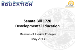 Senate Bill 1720 Developmental Education