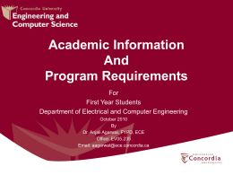 Information Session (in .ppt) - Department of Electrical & Computer