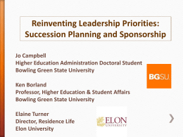 ACPA 2014 Reinventing Leadership Priorities Succession Planning