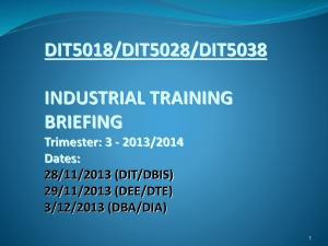 INDUSTRIAL TRAINING BRIEFING - Centre for Diploma Programmes