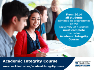 Academic Integrity Course - The University of Auckland
