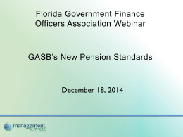 GASB`s New Pension Standards
