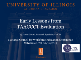 Early Lessons from TAACCCT Evaluation