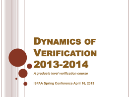 Dynamics of Verification 2013-2014
