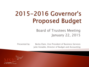 2015-2016 Governor`s Proposed Budget