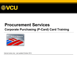 P-Card - Procurement Services