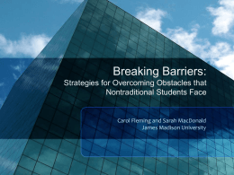 Strategies for Overcoming Obstacles that Nontraditional Students Face