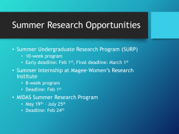 Summer Research Opportunities