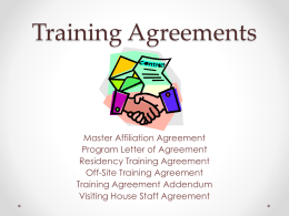 Training Agreements - University of Utah