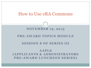 How to Use eRA Commons - Office of the Vice Provost