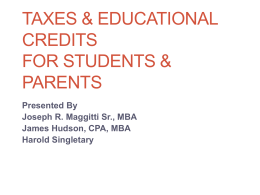 Tax Issues for Students