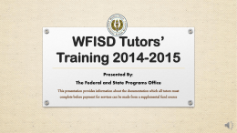 WFISD Tutors Training 2014-2015