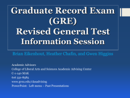 GRE General Test Information Session (Oct. 14, 2014)