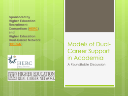 Models of Dual-Career Recruitment (pre-conference