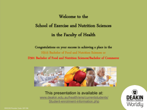 H315 Bachelor of Food and Nutrition Sciences