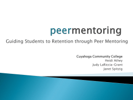 Peer Mentor Coach Training - The Higher Education Compact of