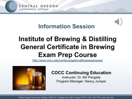 The General Certificate in Brewing (GCB)