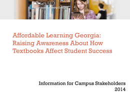 Raising Awareness About How Textbooks Affect Student Success