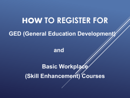 Basic Skills/GED Course Presentation