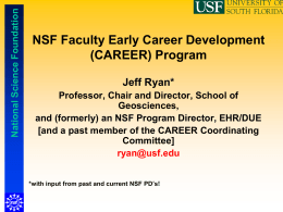 NSF Faculty Early Career Development (CAREER) Program (some inside