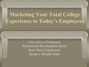Marketing Your Total College Experience to Today`s Employers