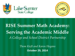 RISE Summer Math Academy - The Florida College System