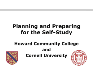 Planning and Preparing for the Self Study