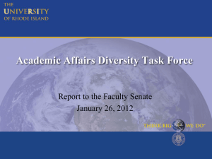 Power Point display about the Academic Affairs Diversity Task Force