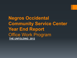 Negros Occidental Community Service Center Year End Report