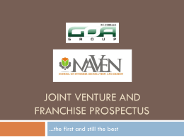 Joint venture and franchise prospectus