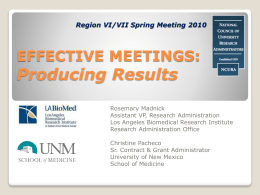 Effective Meetings - Grant and Research Development