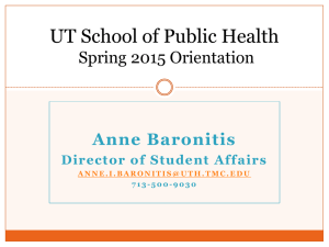 Student Services Spring 2015 - University of Texas School of Public