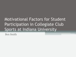 Motivational Factors for Student Participation in