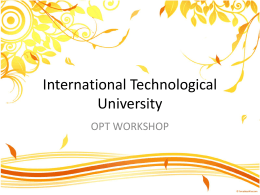 OPT Workshop Presentation