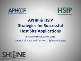 APHIF & HSIP Strategies for Successful Host Site